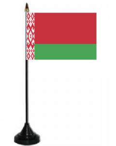 Belarus Desk / Table Flag with plastic stand and base.